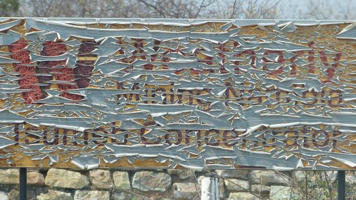 An old sign from a previous mining company in Tsumeb