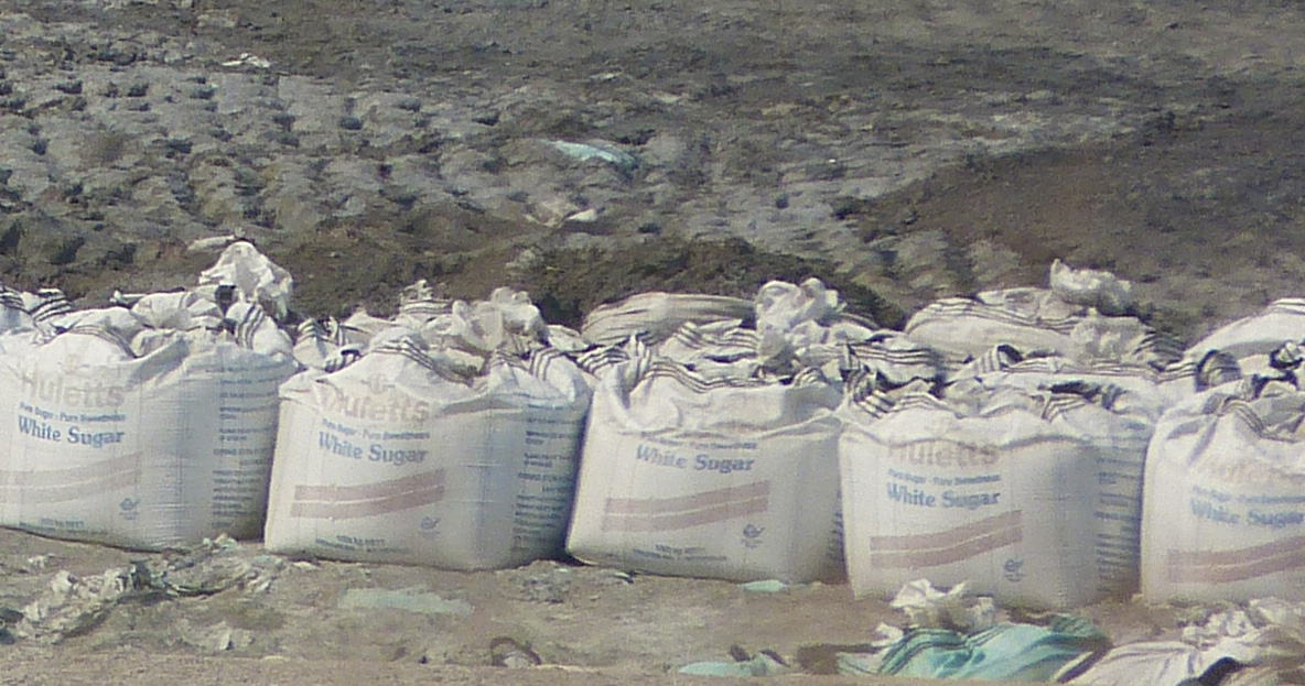 Highly toxic waste stored in sugar bags.