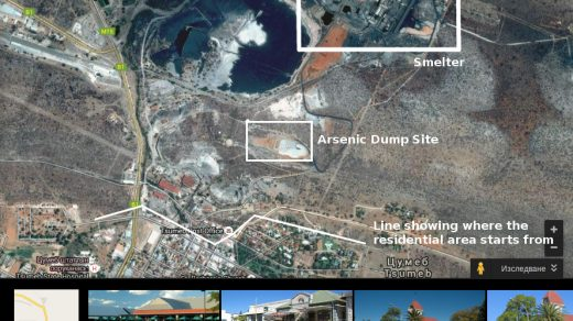 A satellite image showing the close proximity of the dump site to residential houses in Tsumeb.
